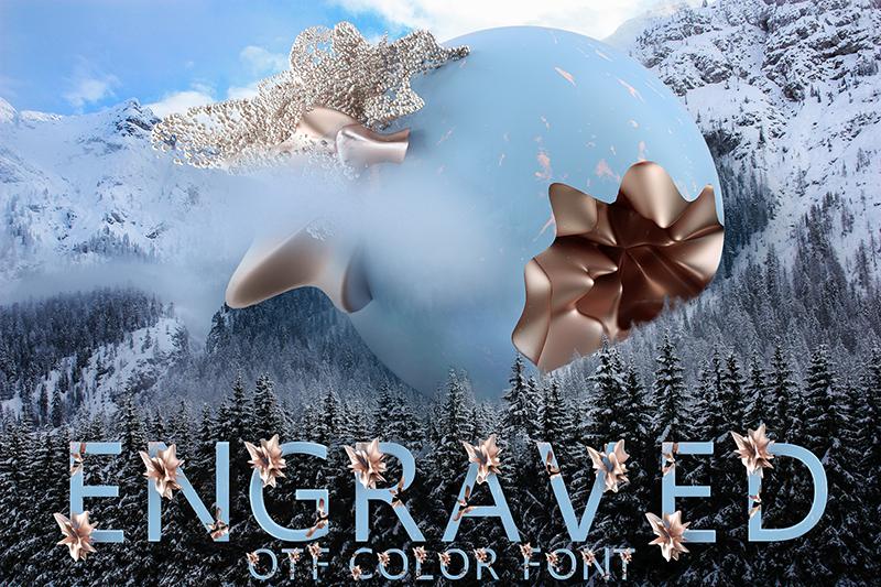 21 Color Fonts: FaeryDesign & PandoraDreams Render Fonts - Engraved 00