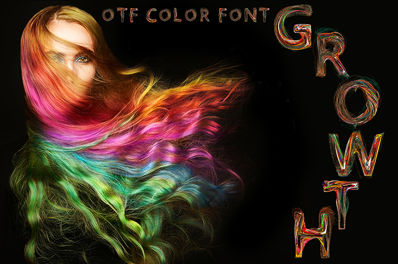 21 Color Fonts: FaeryDesign & PandoraDreams Render Fonts - Growth 00