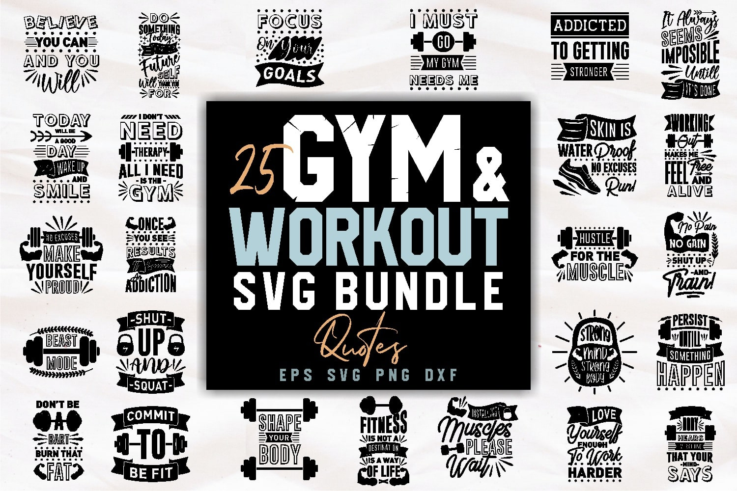 Gym and workout bundle.Quote Designs.
