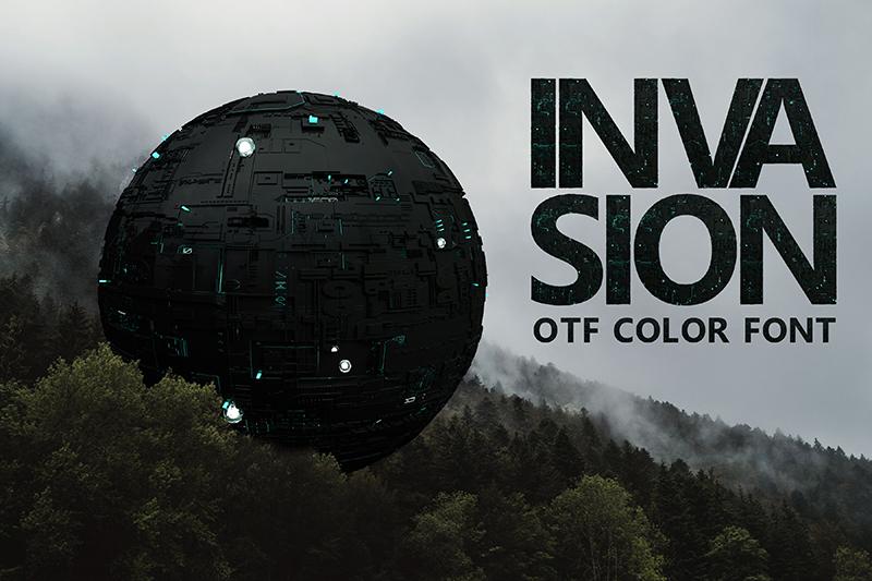 21 Color Fonts: FaeryDesign & PandoraDreams Render Fonts - Invasion 00