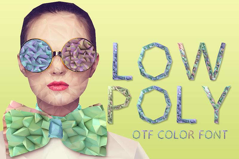 21 Color Fonts: FaeryDesign & PandoraDreams Render Fonts - LowPoly 00