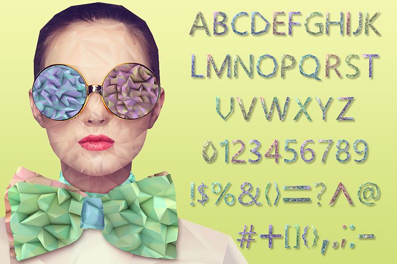 21 Color Fonts: FaeryDesign & PandoraDreams Render Fonts - LowPoly 01