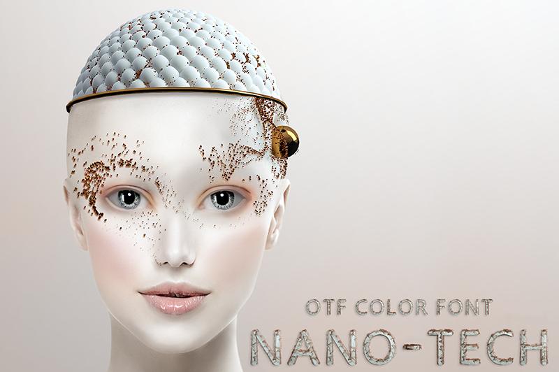 21 Color Fonts: FaeryDesign & PandoraDreams Render Fonts - Nano Tech 00