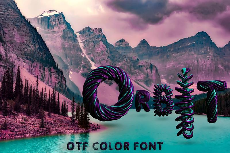 21 Color Fonts: FaeryDesign & PandoraDreams Render Fonts - Orbit 00