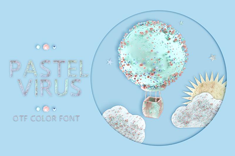 21 Color Fonts: FaeryDesign & PandoraDreams Render Fonts - PastelVirus 00