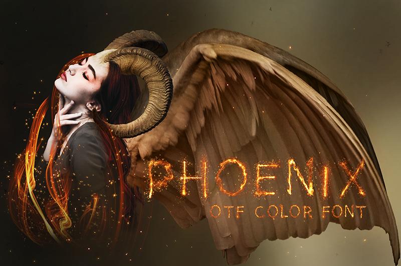 21 Color Fonts: FaeryDesign & PandoraDreams Render Fonts - Phoenix 00