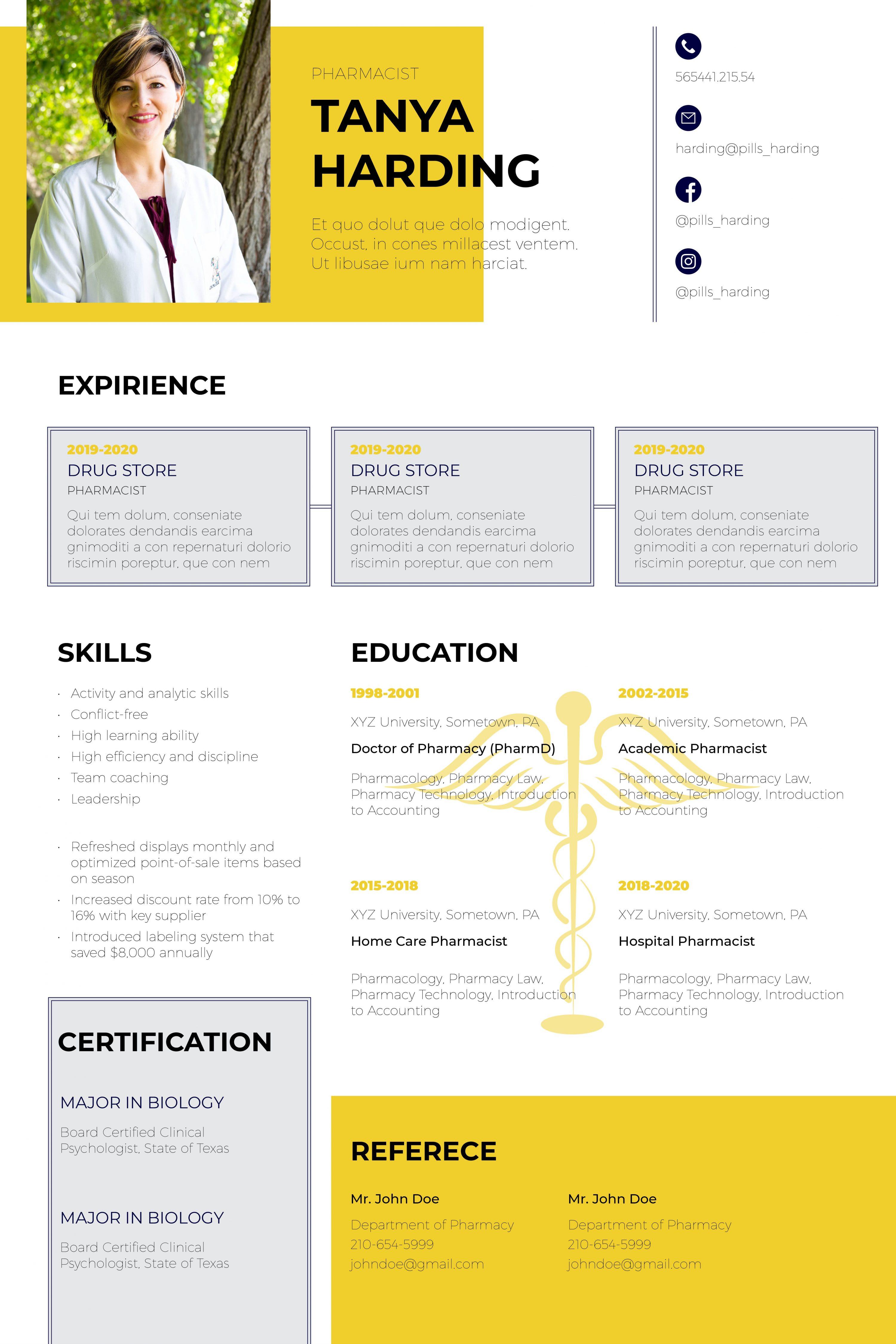 Nursing & Medical Resume Templates InDesign Bundle - Resume template pharmacy 1