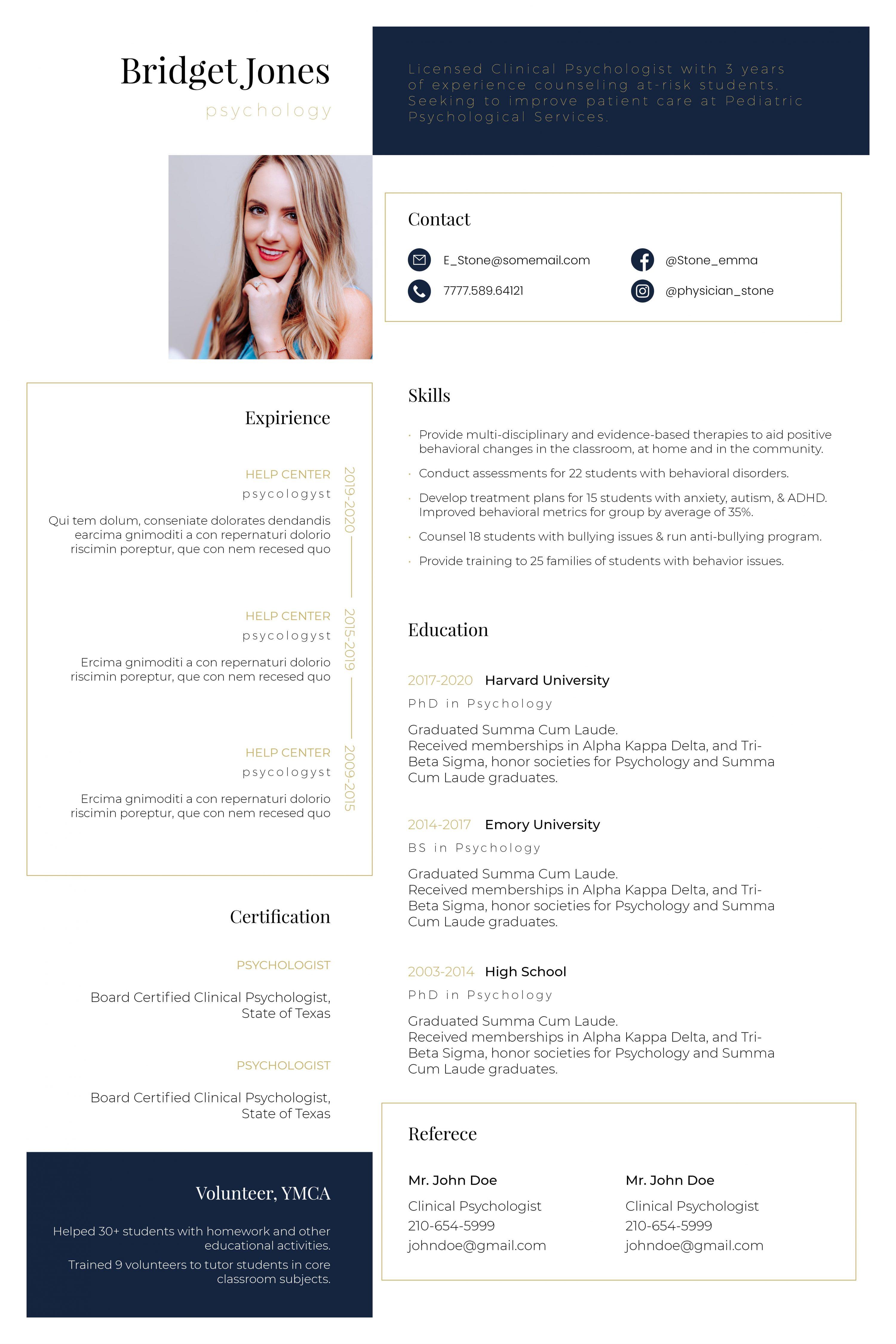 Nursing & Medical Resume Templates InDesign Bundle - Resume template phycology 1