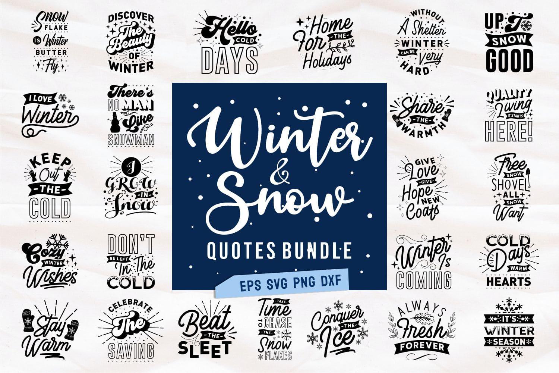 Winter svg bundle.Quote Designs.
