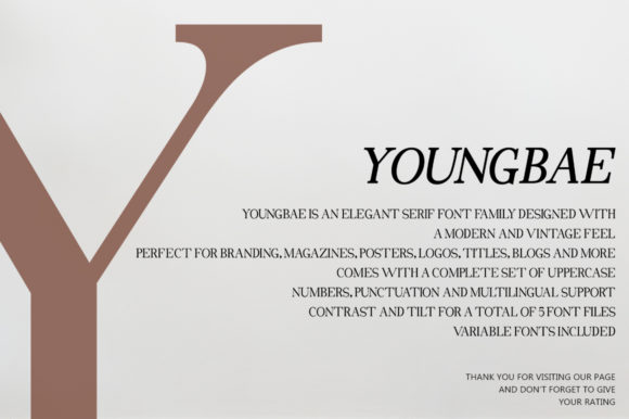 Youngbae Modern Regular Font - Youngbae Fonts 7156528 13 580x386