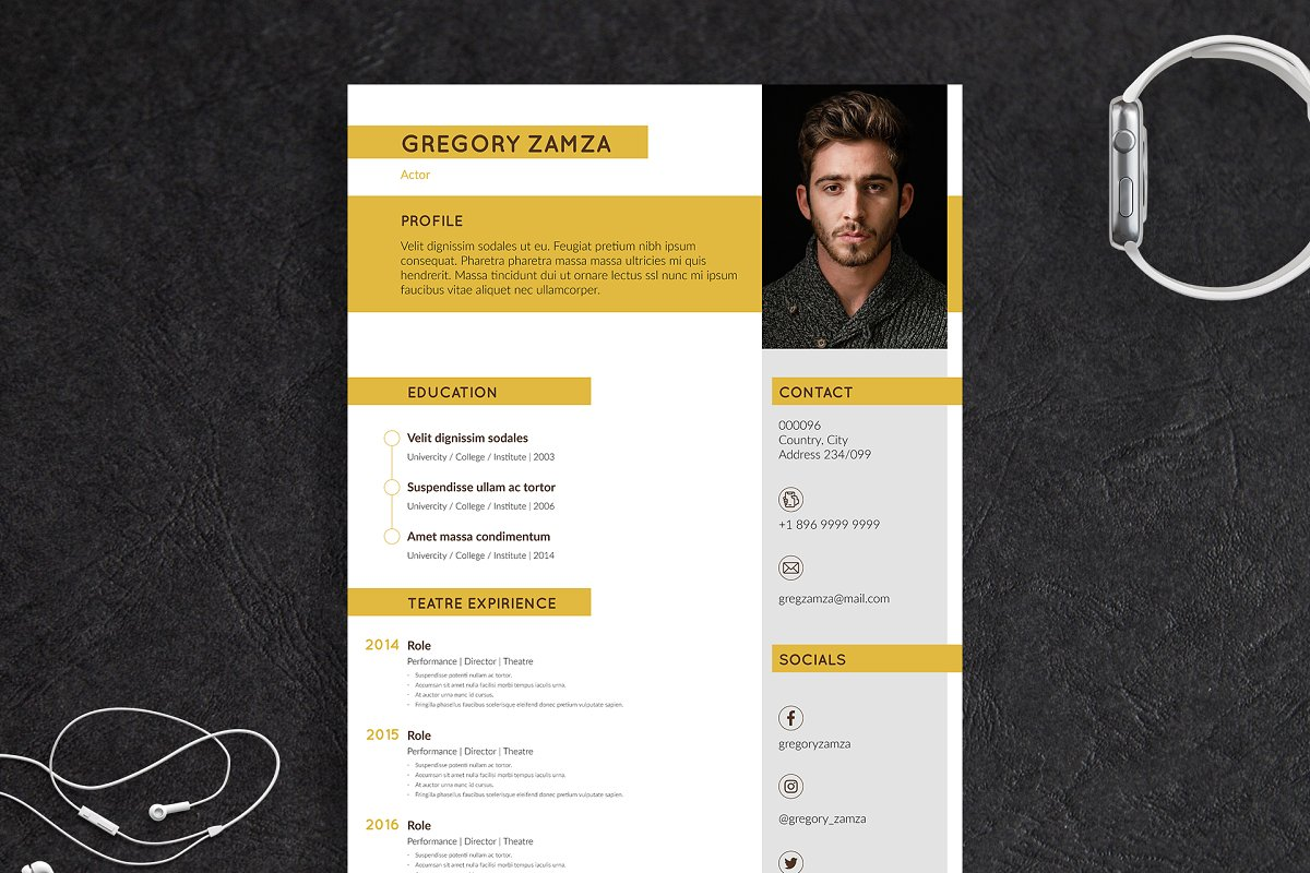 2 Actor Indesign Resume Templates - actor 1
