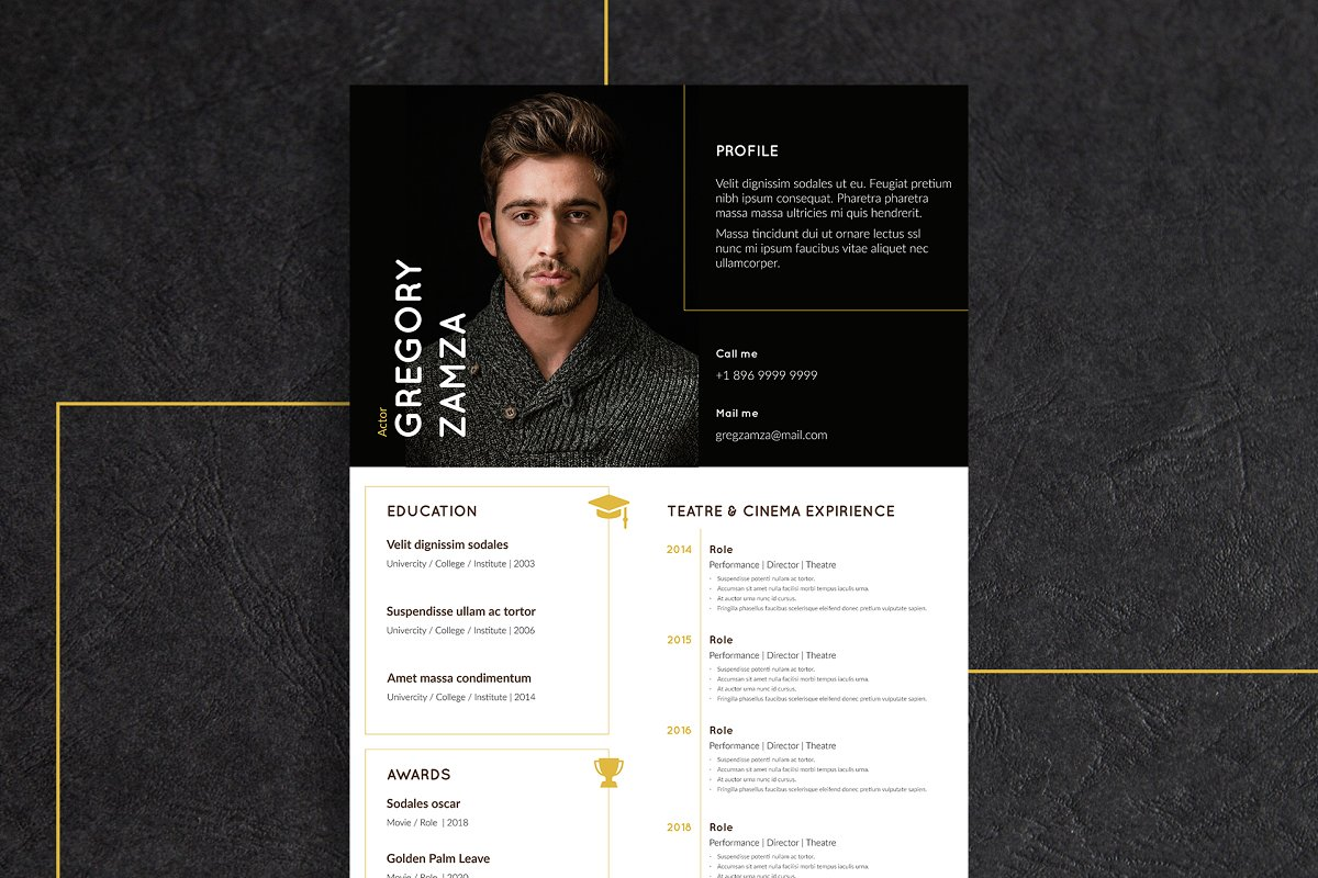 2 Actor Indesign Resume Templates - actor 2
