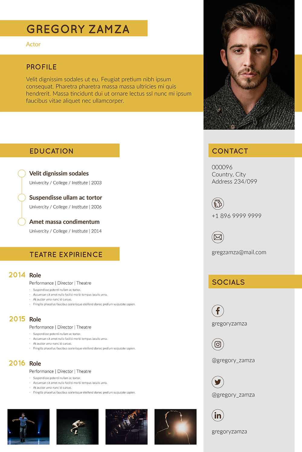 2 Actor Indesign Resume Templates - actor resume template