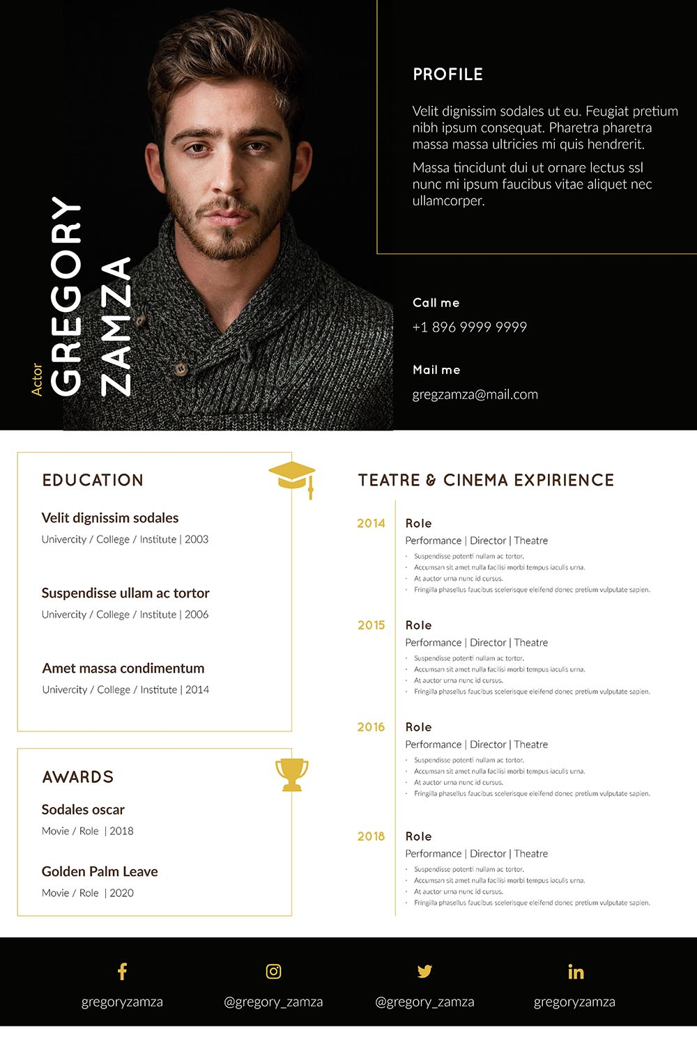 2 Actor Indesign Resume Templates - actor resume template2