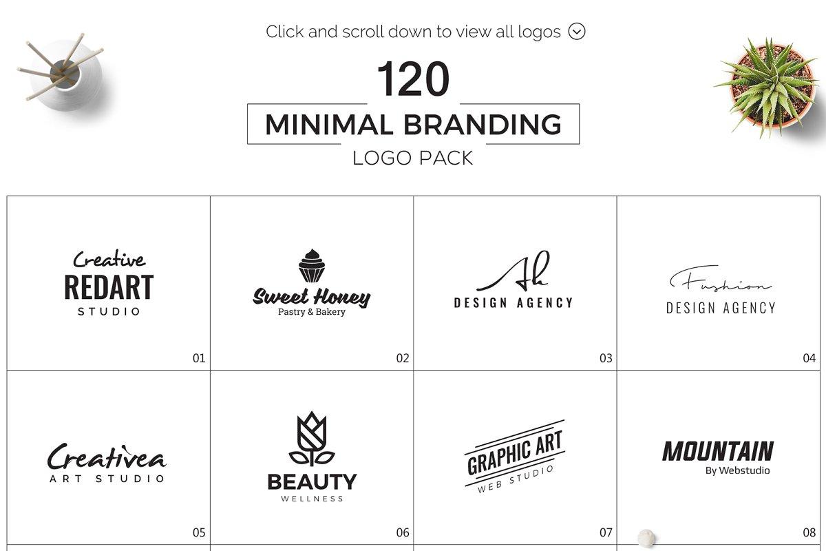 120 Minimal Branding Logo Pack - b minimalist logo bundle