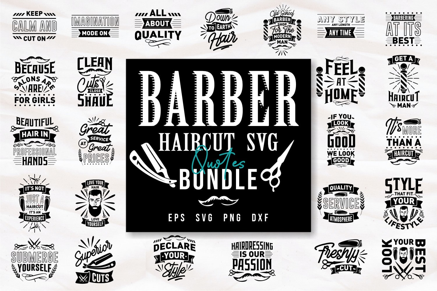 Barber haircut SVG.Quote Designs.