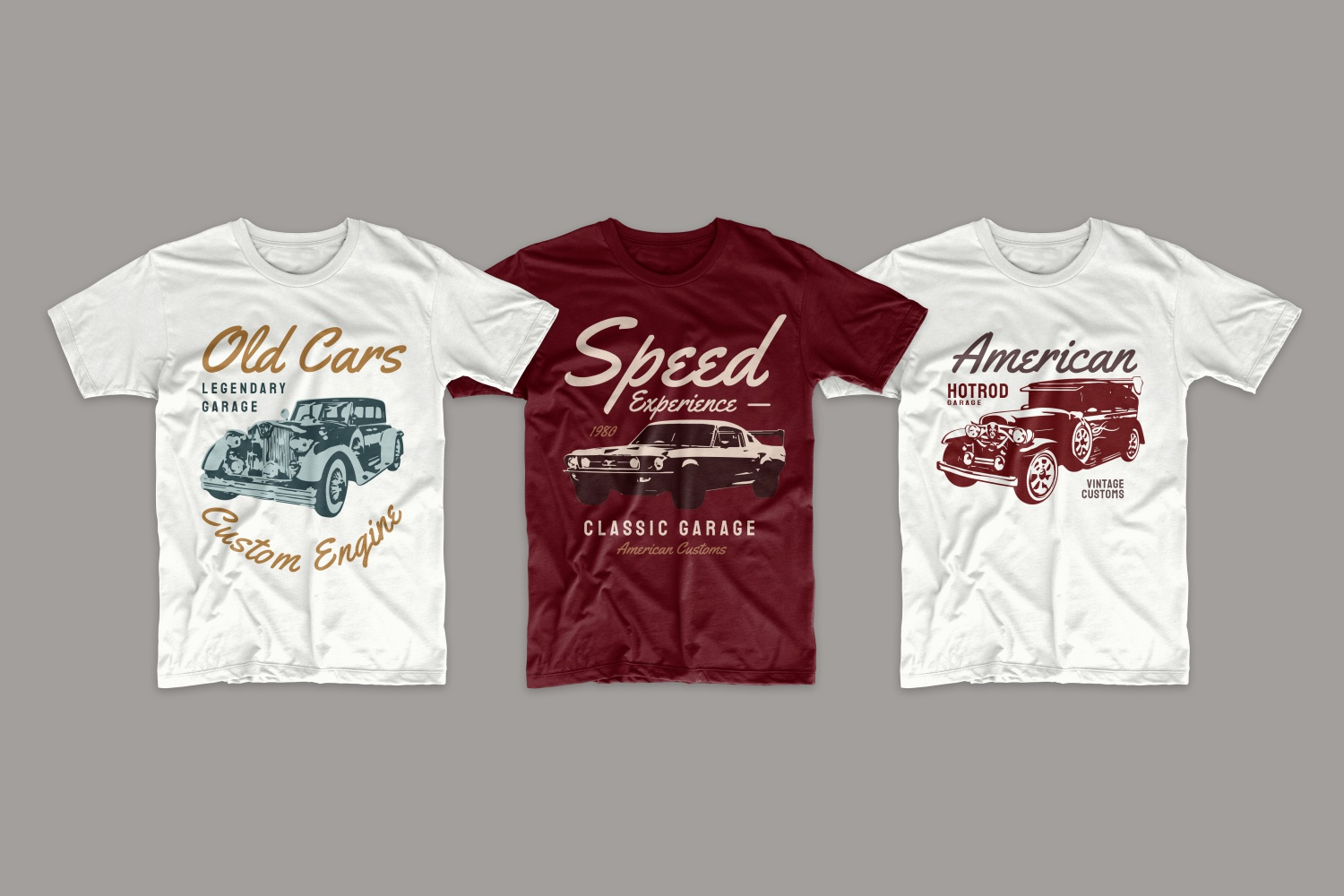 T-shirts with old cars and their characteristics.
