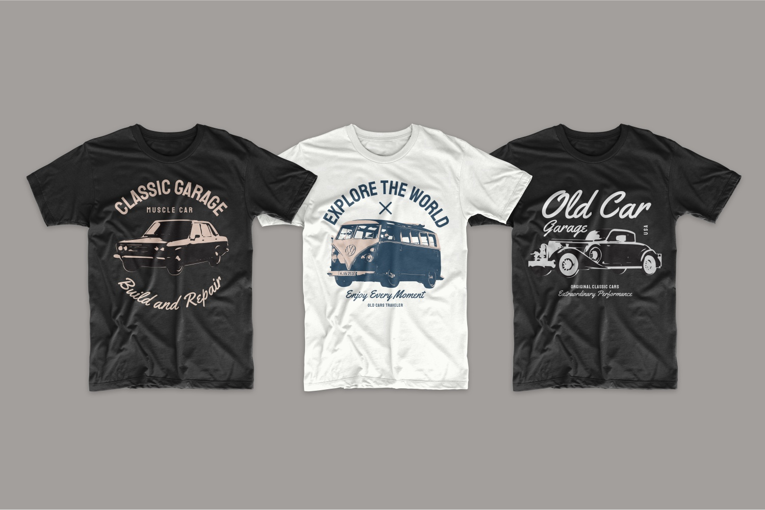 T-shirts featuring beautiful classic cars.