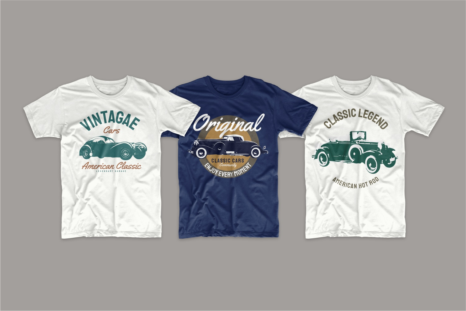 Two white and blue T-shirts with classic legendary car models.