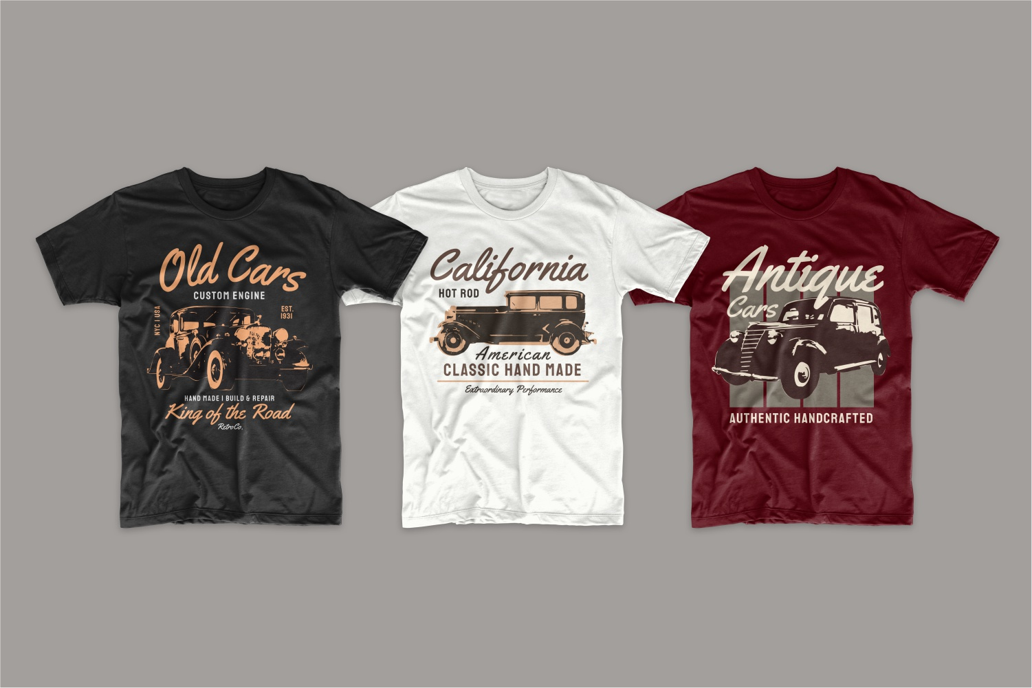 Black, white and burgundy T-shirts featuring retro cars in brown.