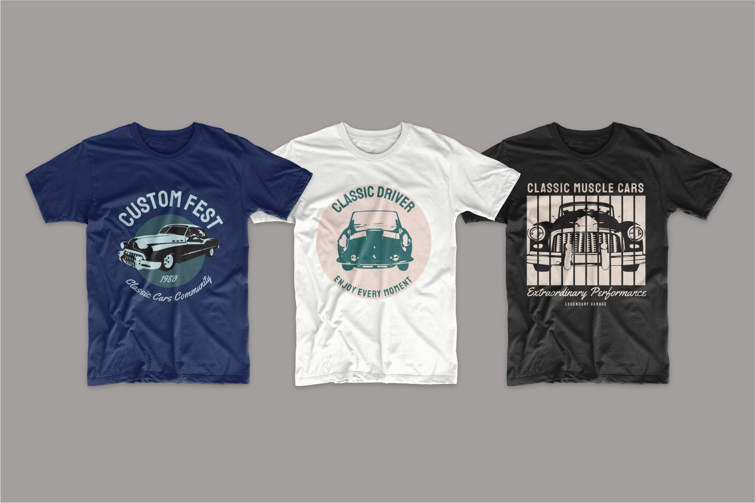 Blue, white and black T-shirts with classic car look.