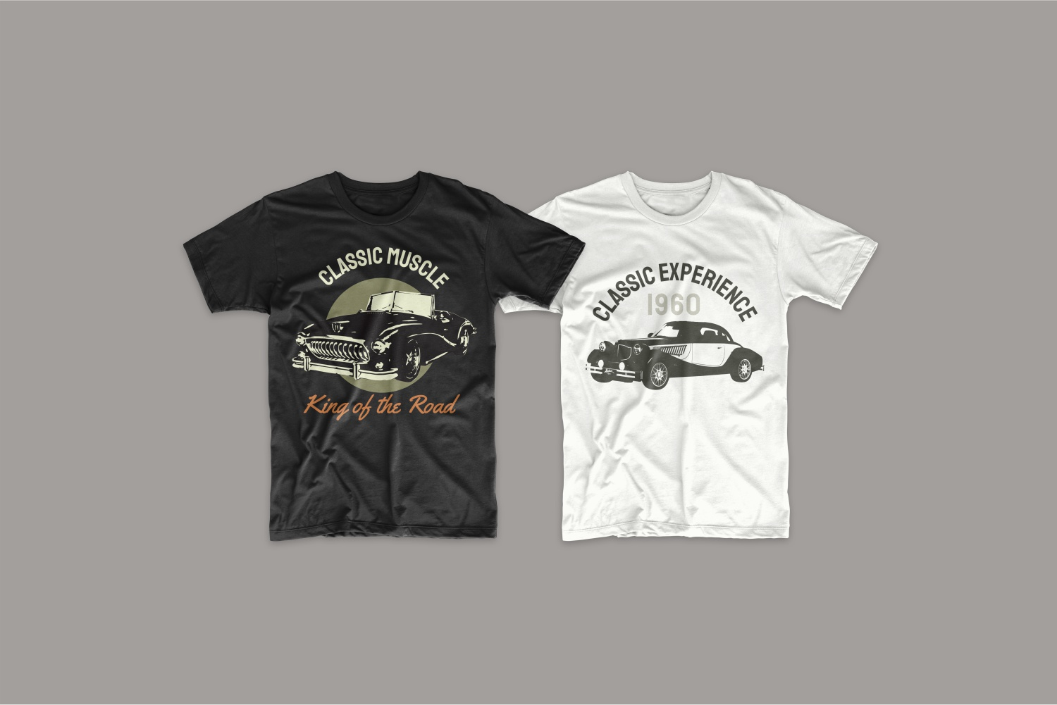 Two T-shirts - black and white with vintage cars.