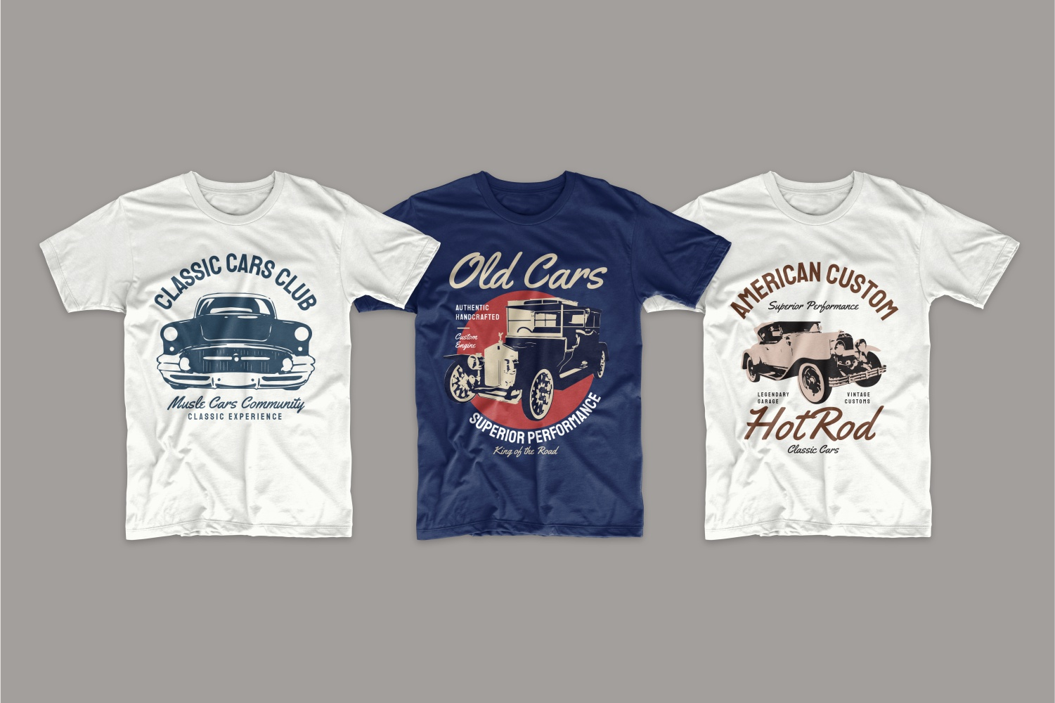 White and blue t-shirt with American cars.