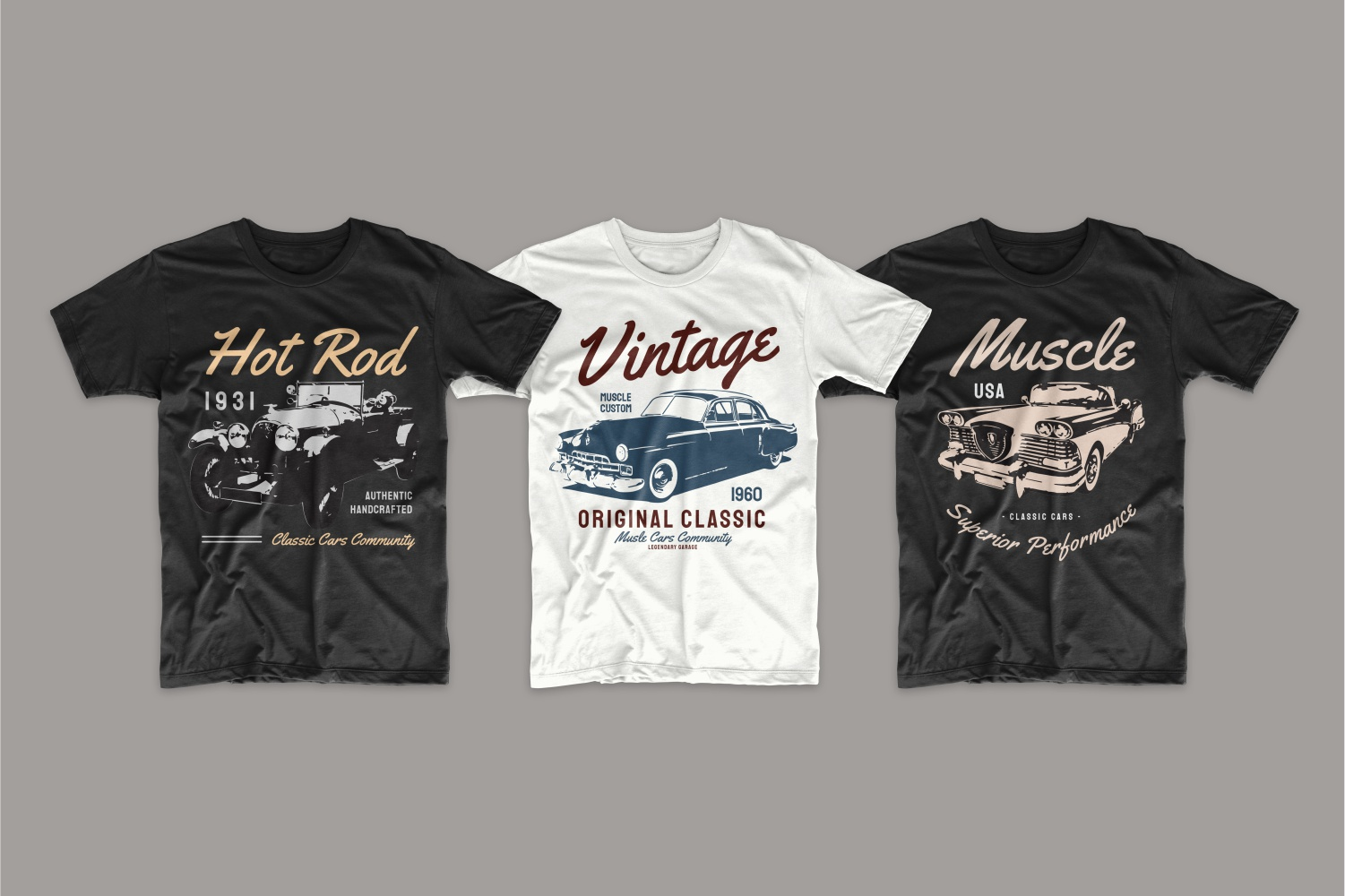 T-shirts with retro cars.