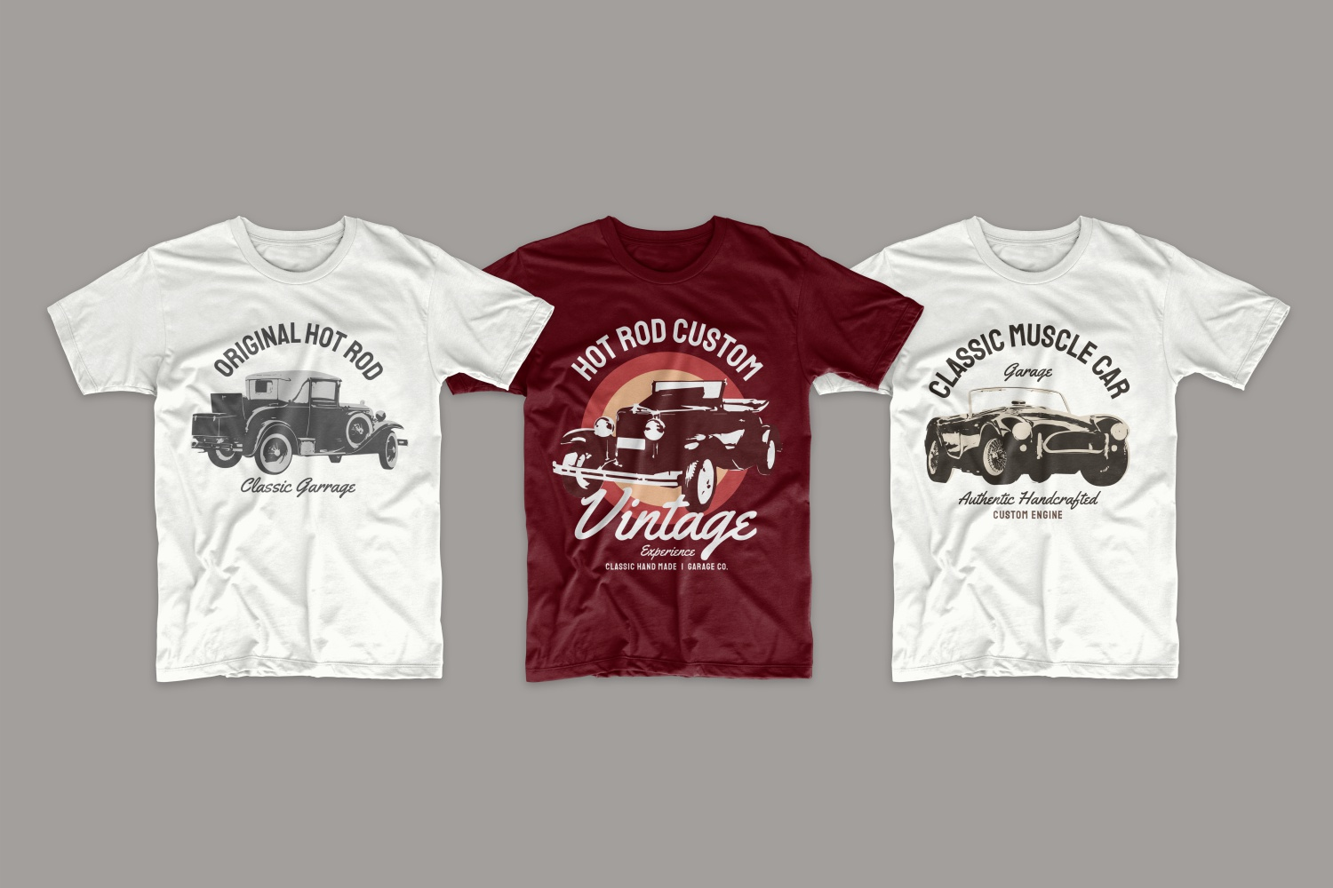 White and burgundy T-shirts with vintage convertibles.