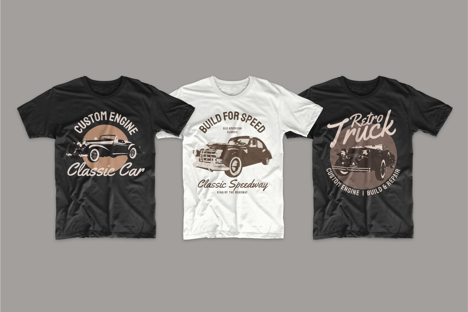 Vintage style T-shirts with auto.