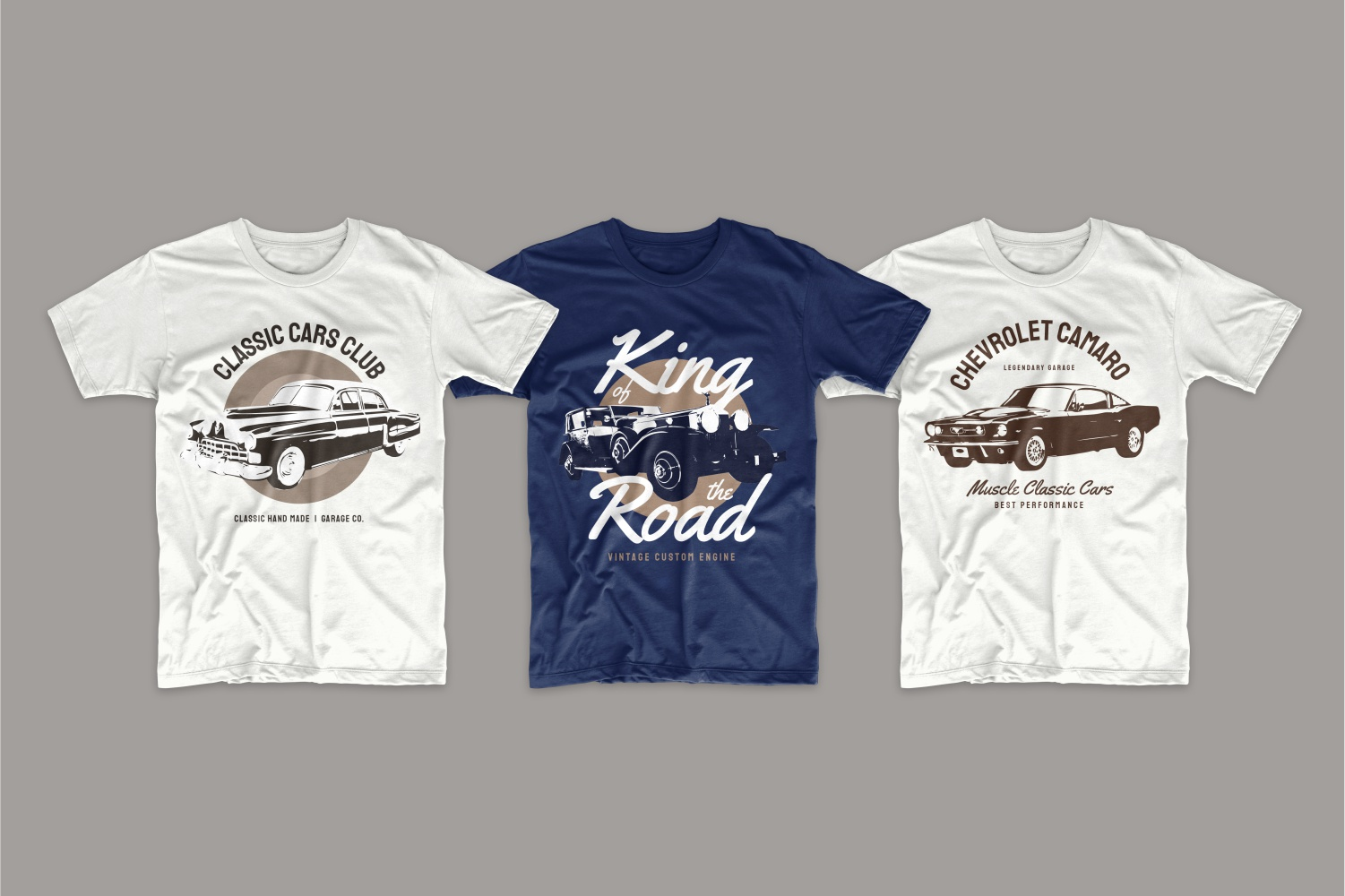 T-shirts in vintage style with chevrolet.