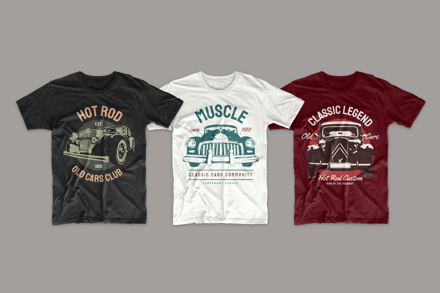 T-shirts with classic cars.
