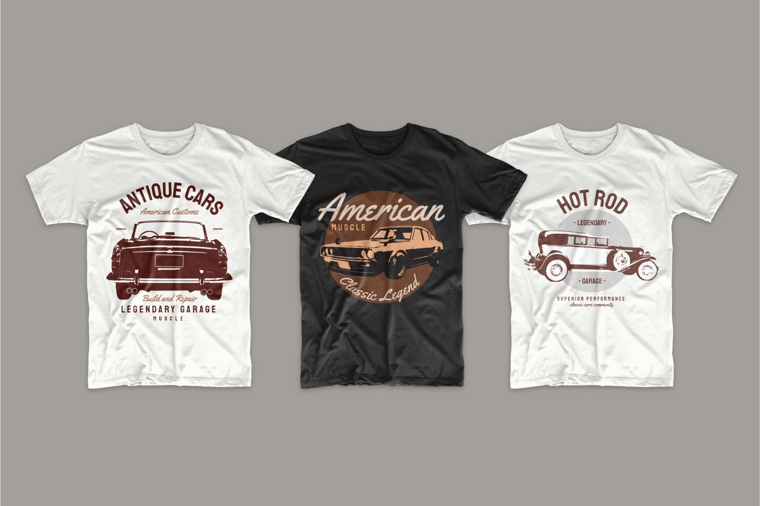 T-shirts with American retro cars.