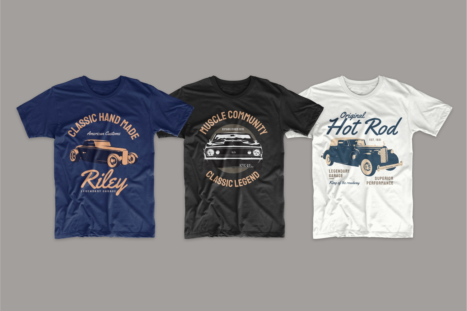 Black, white and blue T-shirts with auto.