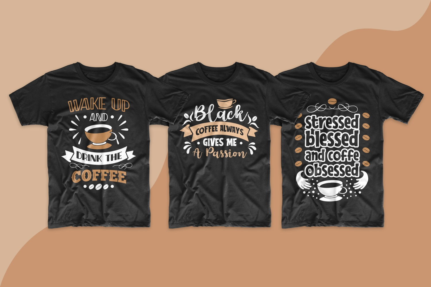 Dark T-shirts with a round neck and short phrases about coffee.