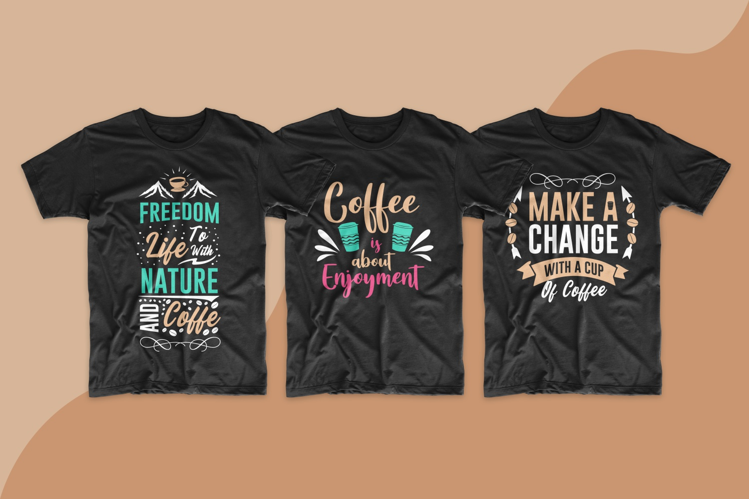T-shirts completely filled with inscriptions about coffee and coffee lovers.