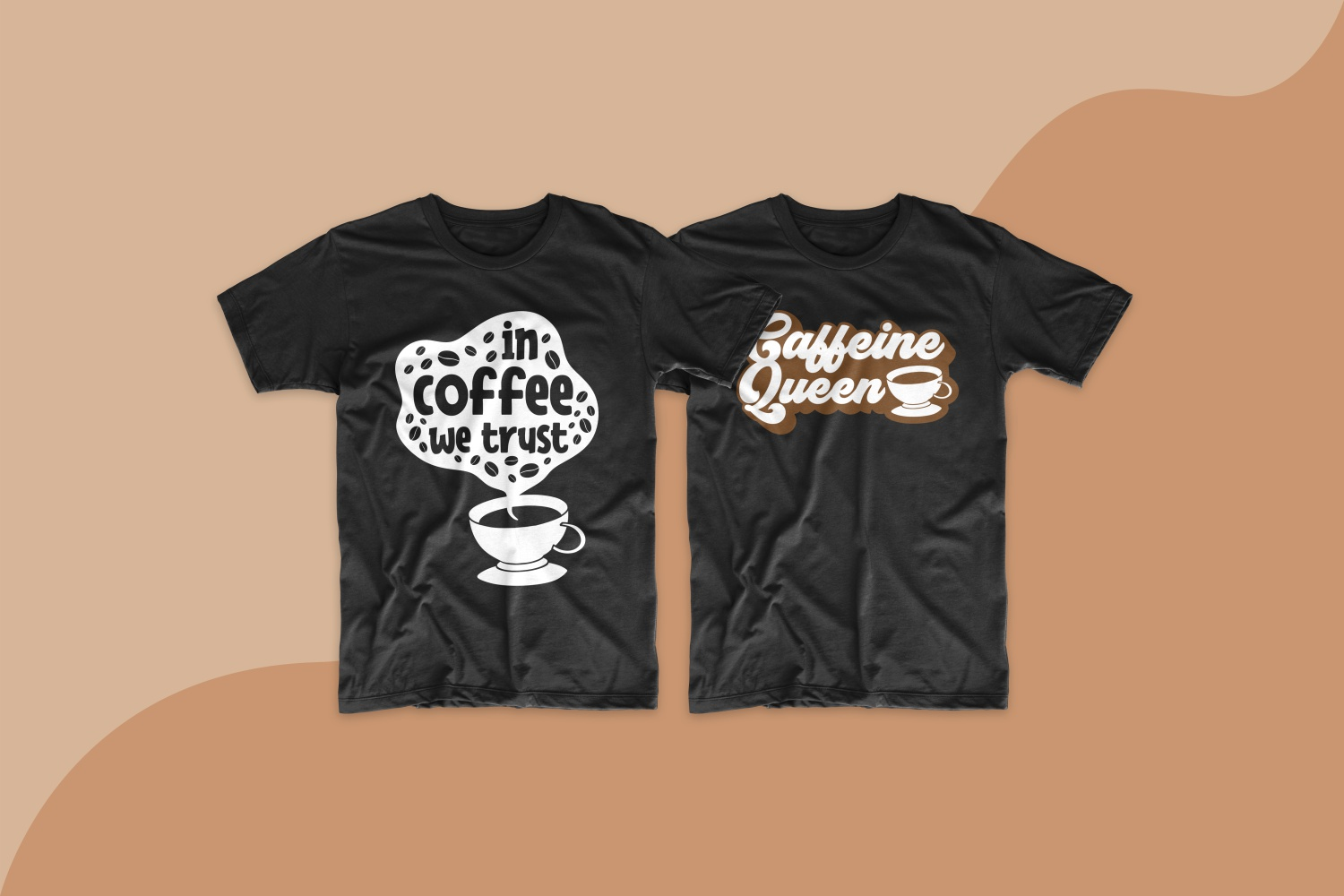 Two black T-shirts with a cup of coffee and coffee beans.