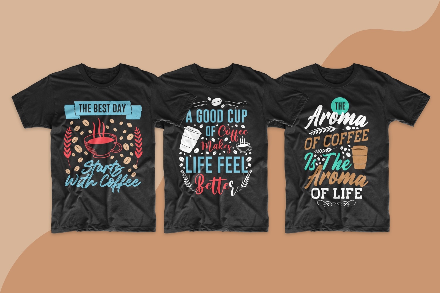 Three black T-shirts with a bright design about the love of coffee.