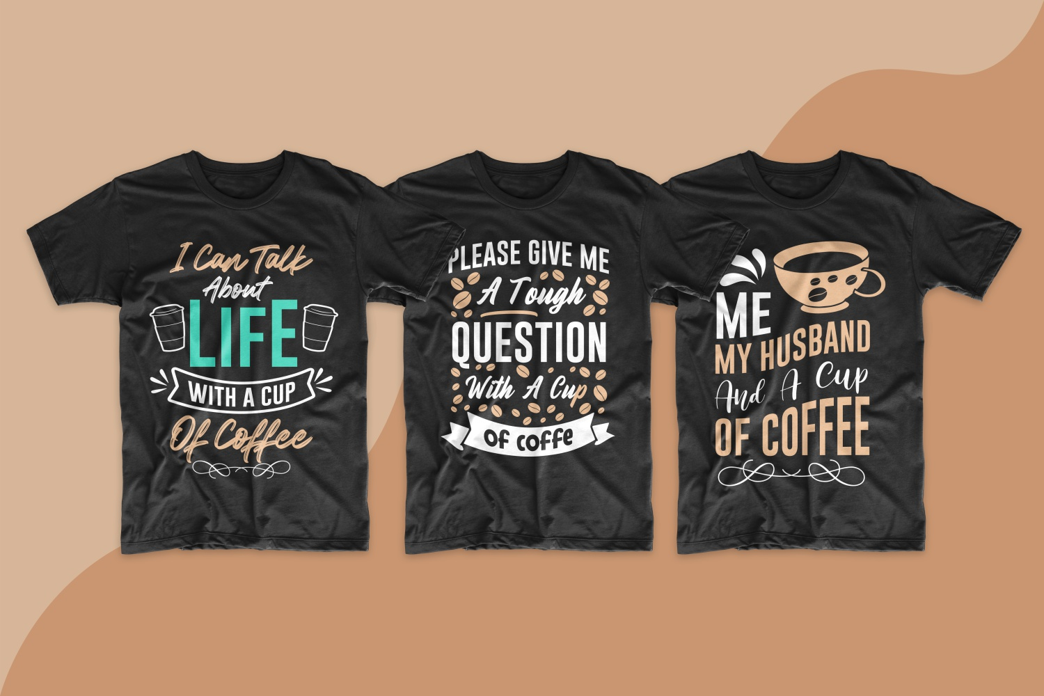 T-shirts for men with a classic cut in black with coffee inscriptions.