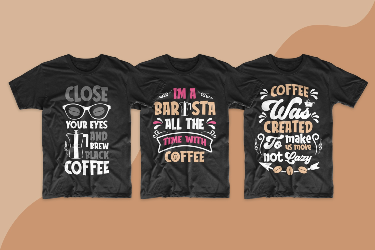 Men's T-shirts with bright colors and inscriptions about the necessity of coffee in life.