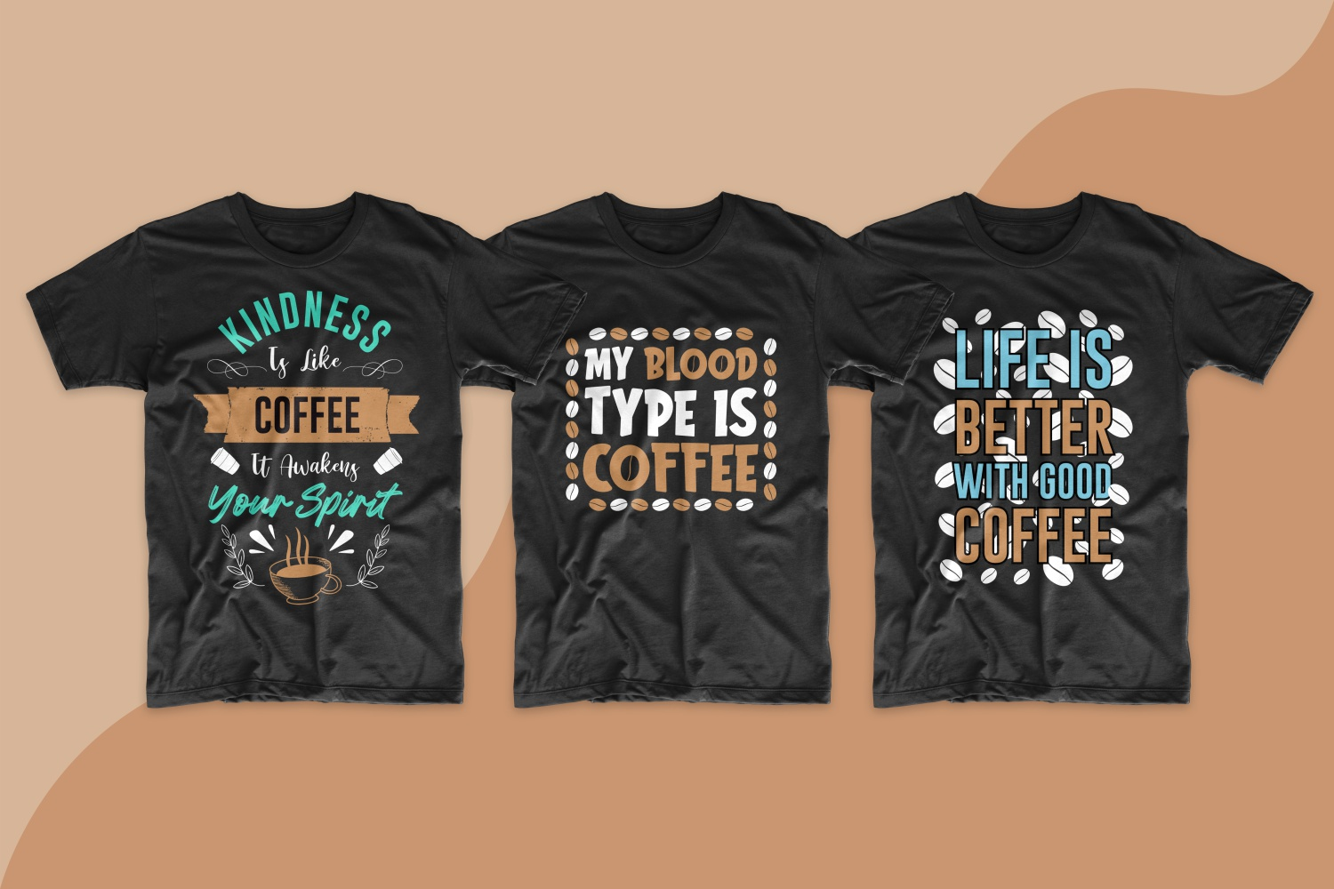 Classic men's T-shirts in dark color with red beans and funny coffee lovers' slogans.