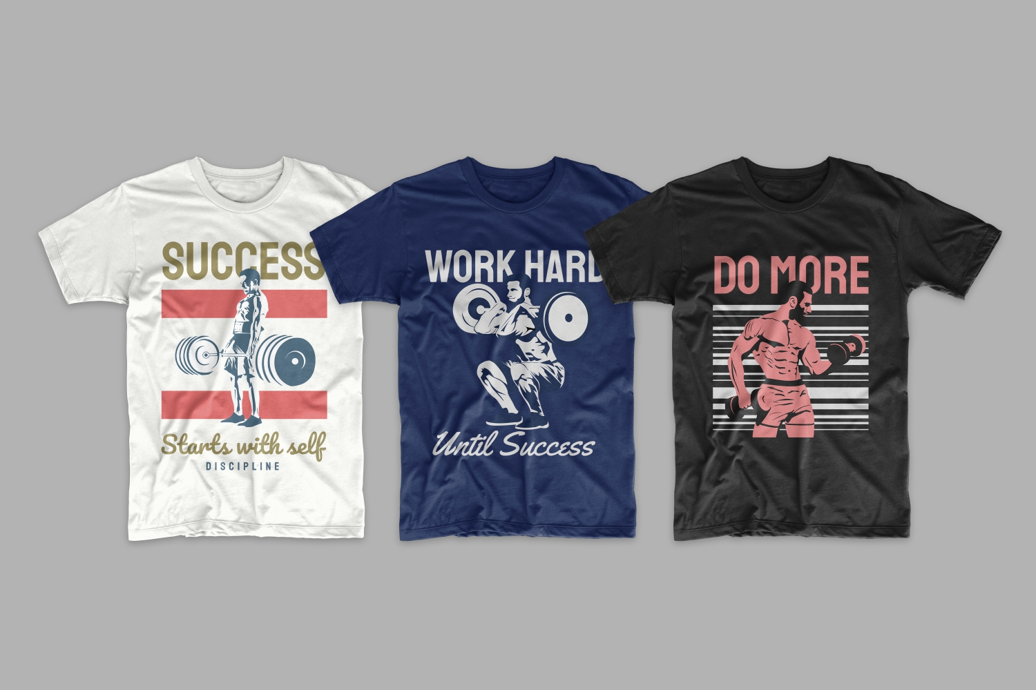 Three T-shirts: blue, white and black featuring a sports man with a barbell.