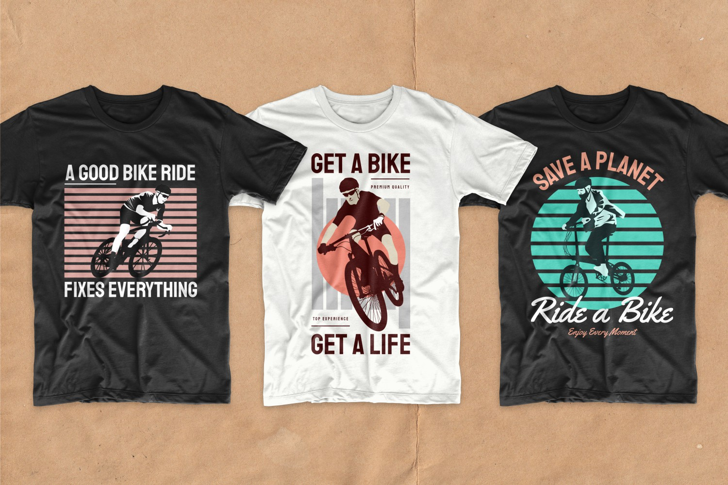 Three T-shirts in a classic fit with a bold design and images of guys on bicycles.
