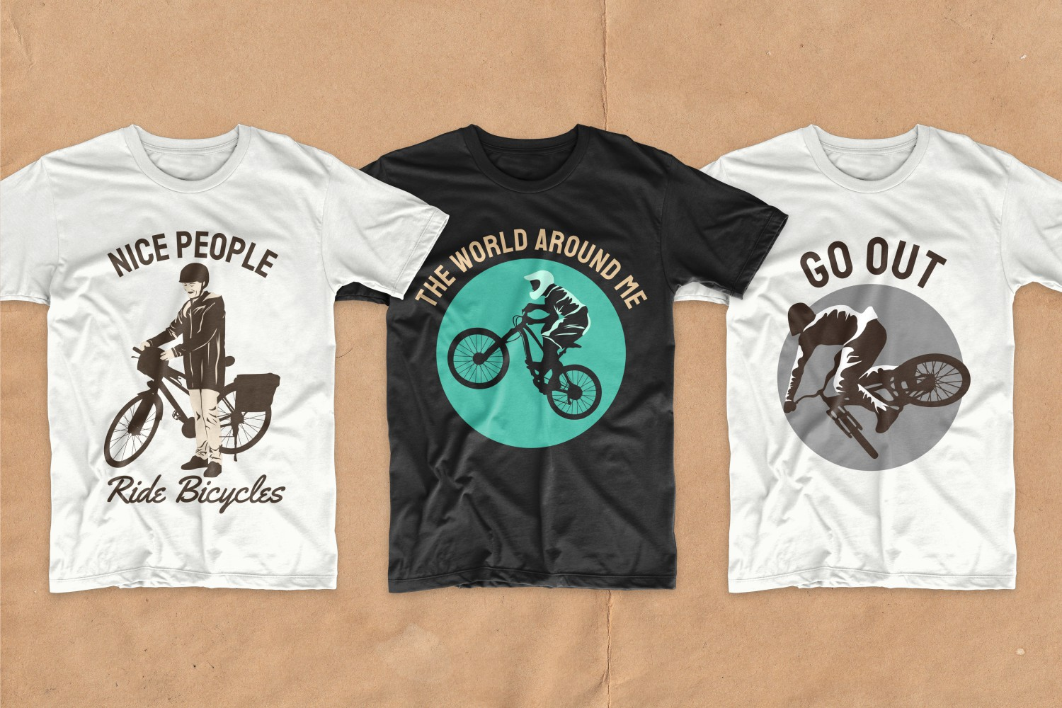 T-shirts with calm and measured cyclists.