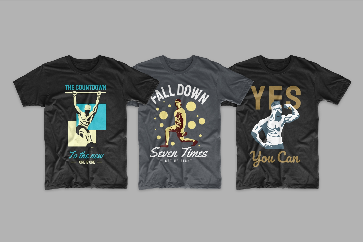 Three T-shirts with images of classes in the gym.