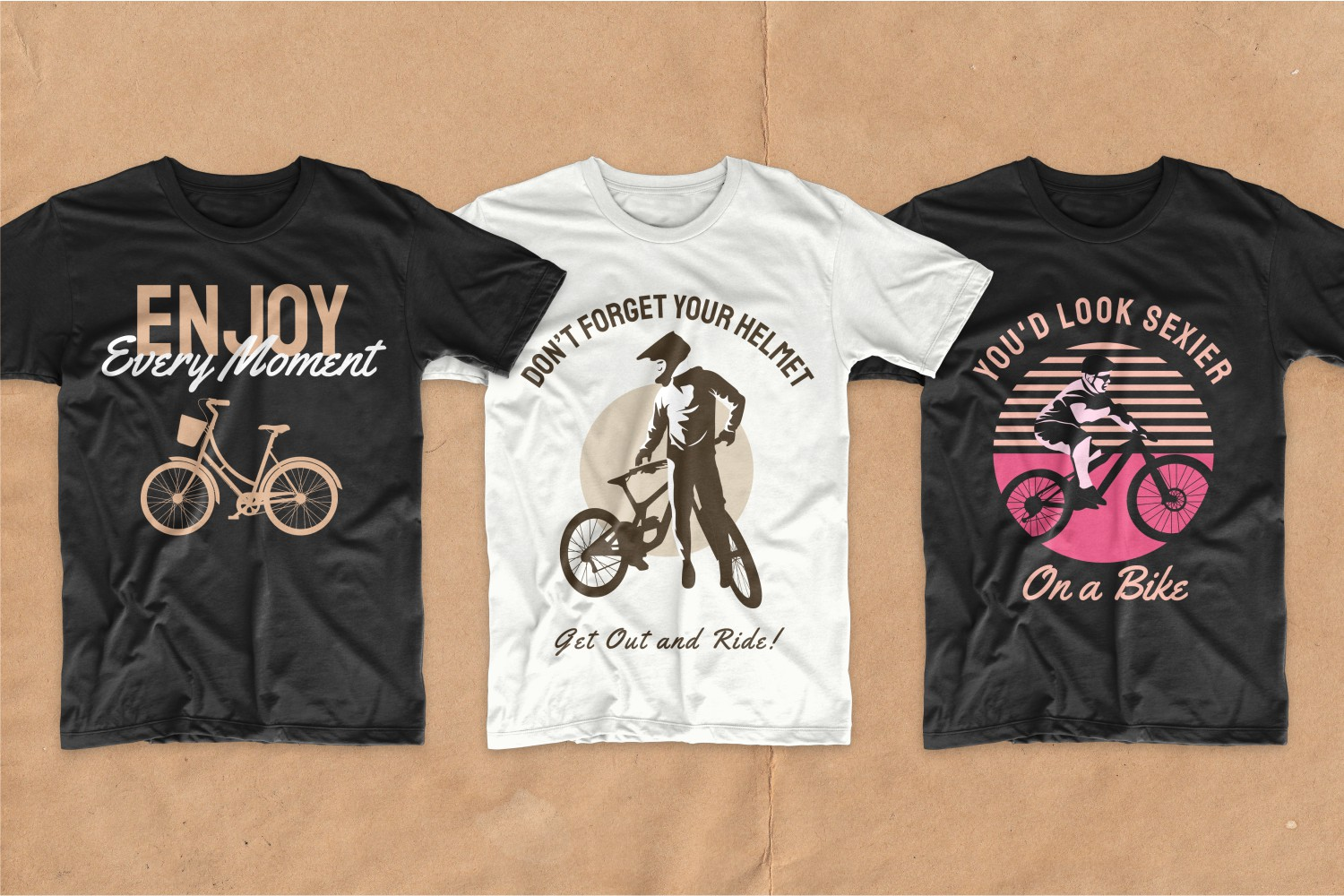 T-shirts with phrases and pictures of cycling lovers.