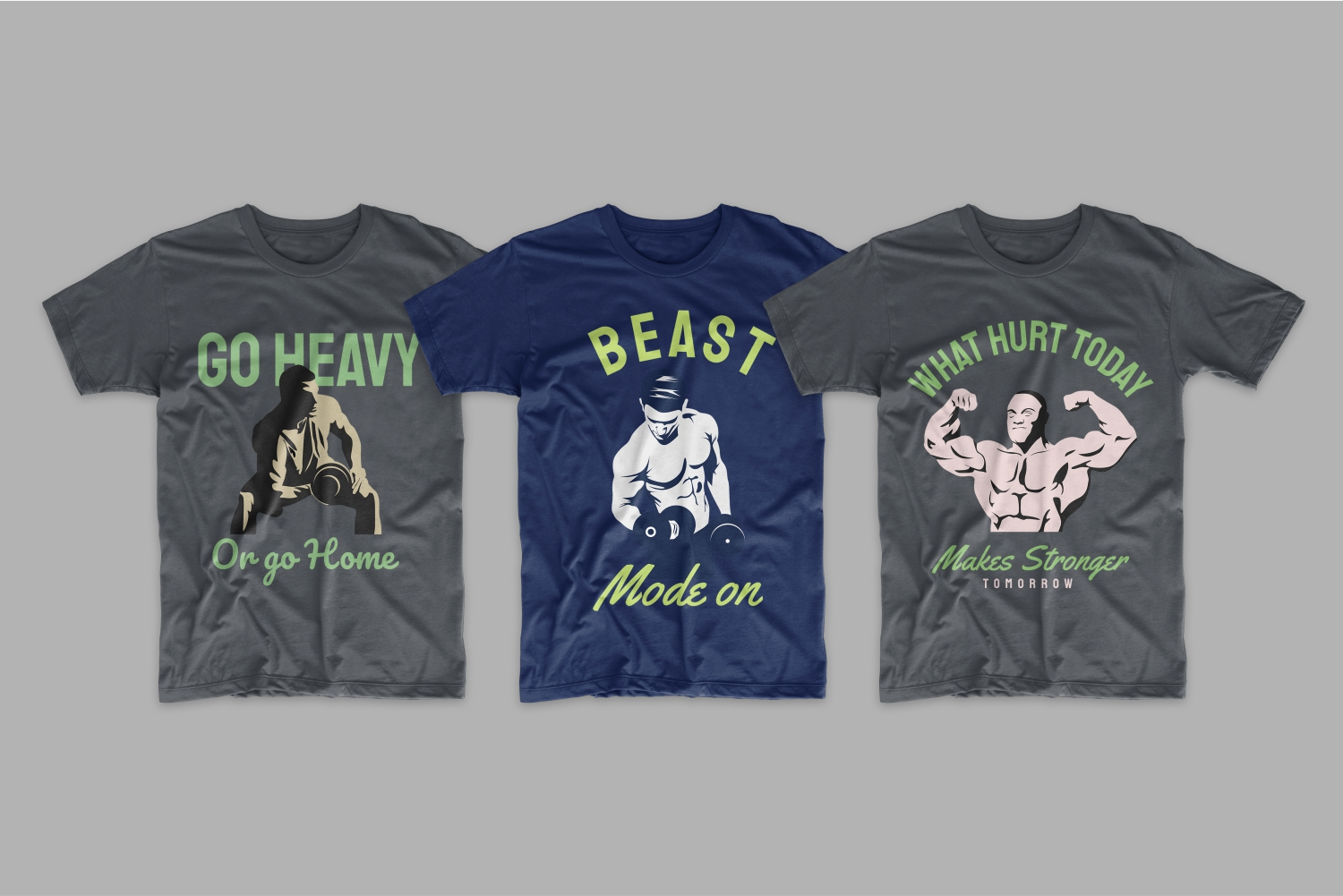 T-shirts with men with pumped up biceps.