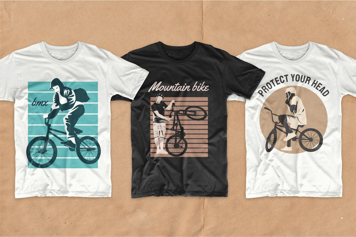 Two white and one black tees with simple yet stylish cycling graphics.