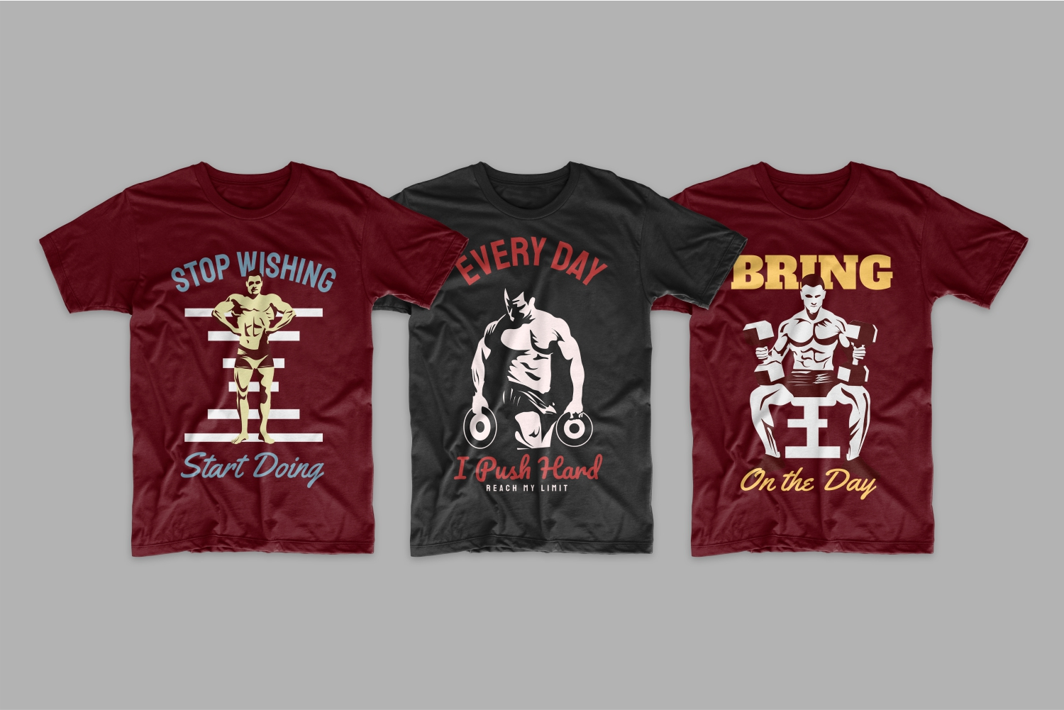 T-shirts with bodybuilders.