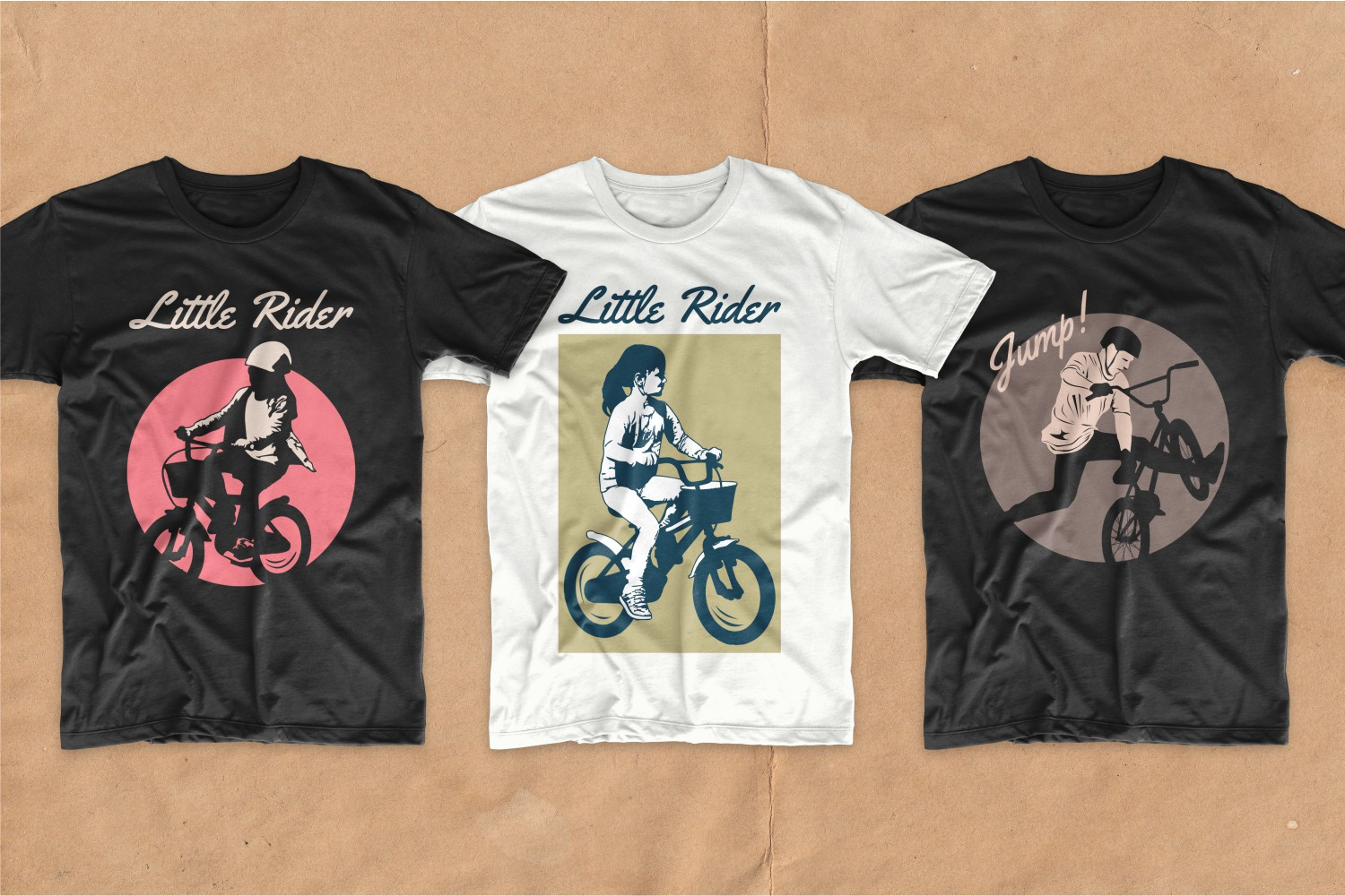 T-shirts with children on bicycles.